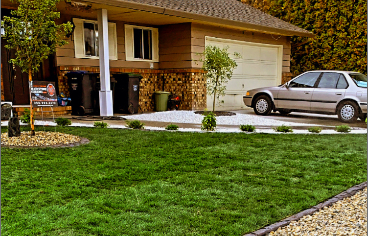 View of a residential homes front yard looking towards their house with a car parked outside