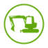 Excavation icon in green on a transparent background
