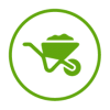 wheelbarrow icon in green on a transparent background