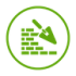 Retaining wall icon in green on a transparent background